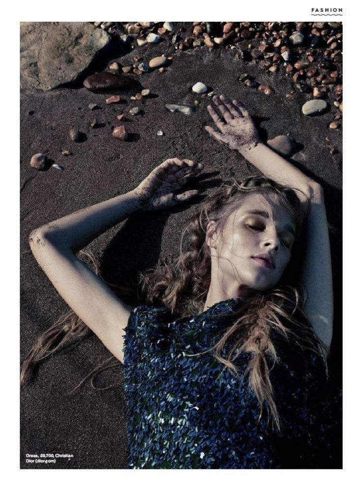 Posing at the beach, Beegee Margenyte wears embellished dress for Stylist Magazine UK November 2016 issue