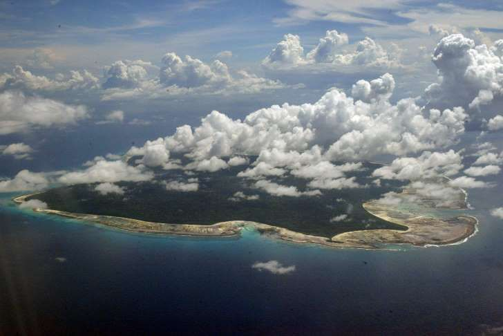 Aerial view of North Sentinel Island, India.