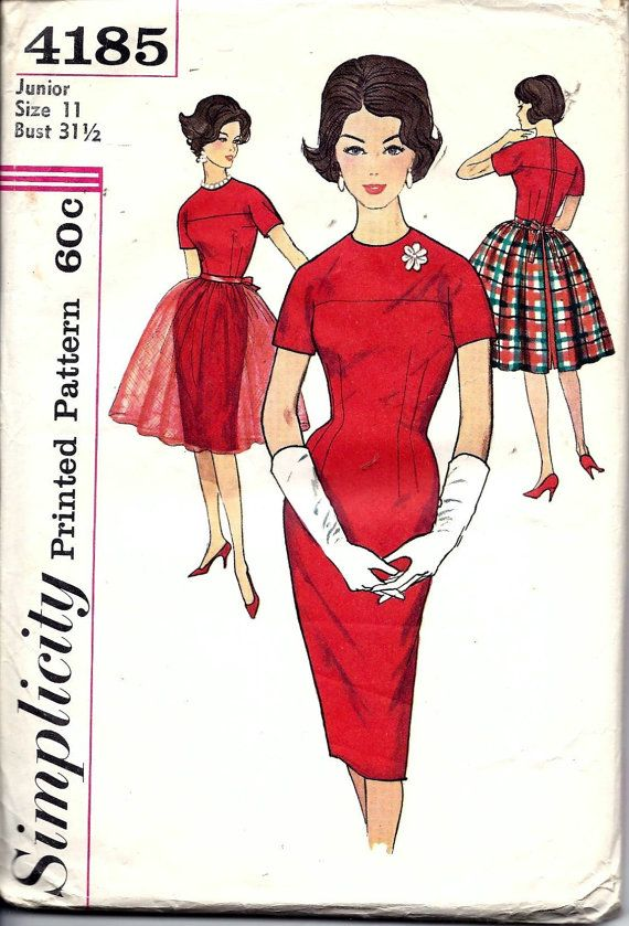Vintage 50s 60s Simplicity 4185 Dress With By Vintagepatternstore Etsy