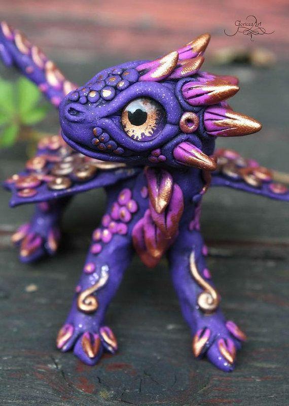 Violet baby Dragon sculpture - dragon figurine - fantasy figure - totem animal - gold - purple - dark - ooak dragon - magic forest animal - fimo art - hadmade - polymer clay by GloriosaArt