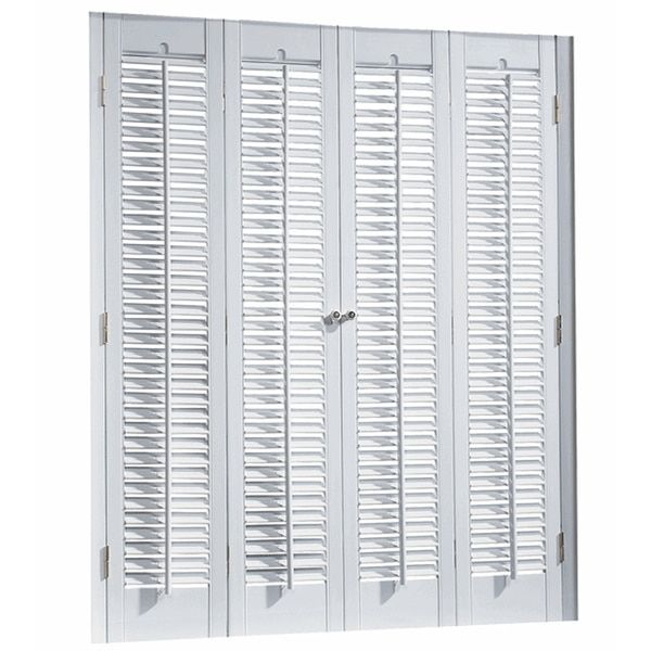 Interior Shutter Kit, .25-inch Louver Set Includes: Shutter, hardware Material: PVC, synthetic wood Color: White Sizes shown are with dimensions listed as: Width x Length 1¼-inch Movable Louvers, Faux Wood (PVC) Panels can be trimmed up to 3/4' on top, and 1 1/2' on bottom 23-inch wide sets comes with Two (2) panels. All other sets have Four (4) panels If mounting kit on outside of window jamb allow at least 2.5 inches for mounting screws 28 inches high x 27 inches wide