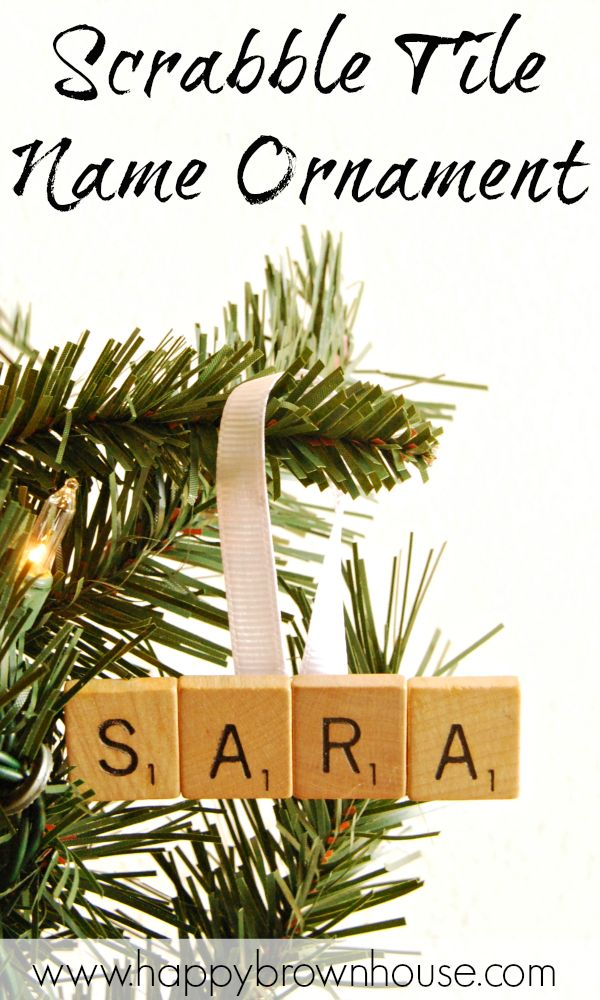 Let the kids help make this easy, personalized Scrabble Tile Name Christmas Ornament. Perfect kids Christmas craft for preschoolers learning how to spell their name. Book-inspired ornament that pairs well with the book, Santa's Book of Names. #KidMadeChristmas