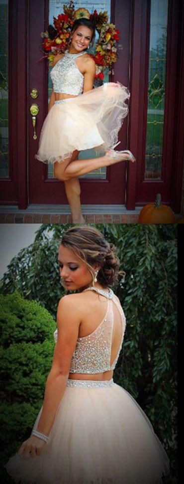 New arrival two pieces open back sparkly freshman homecoming prom dres – LoverBridal