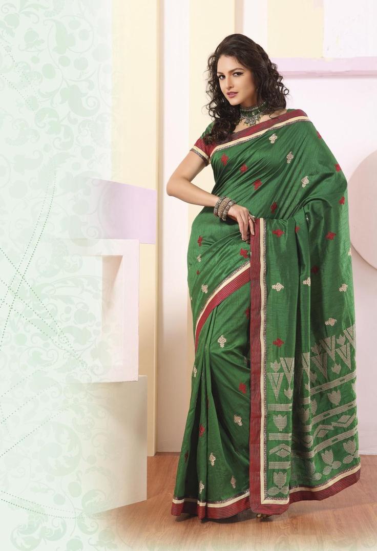 $71.32 Green Silk Saree 21862 With Blouse