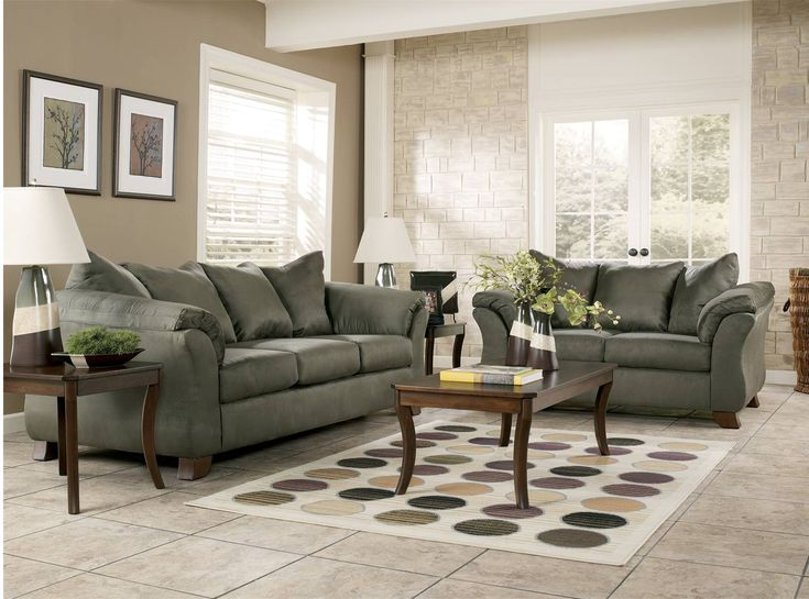 Darcy sage sofa loveseat set wholesale furniture for Whole living room furniture sets