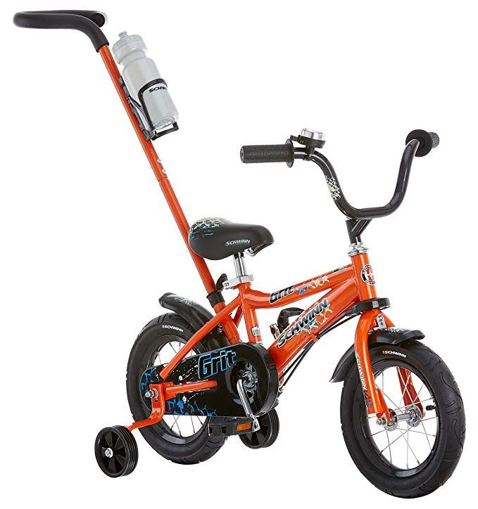 Amazon Com Schwinn Grit Steerable Kids Bike Featuring Push Handle For Easy Steering Training Wheels Enclosed Chainguard Quick Kids Bike Boy Bike Schwinn