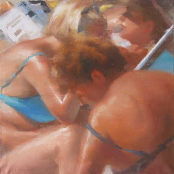 Bagnanti 1551, oil on canvas, cm 40x40. #art #bathers