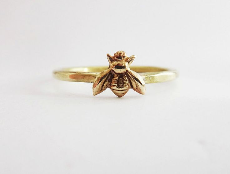 Bee ring tiny honeybee ring gold bee ring gold brass by Lovender