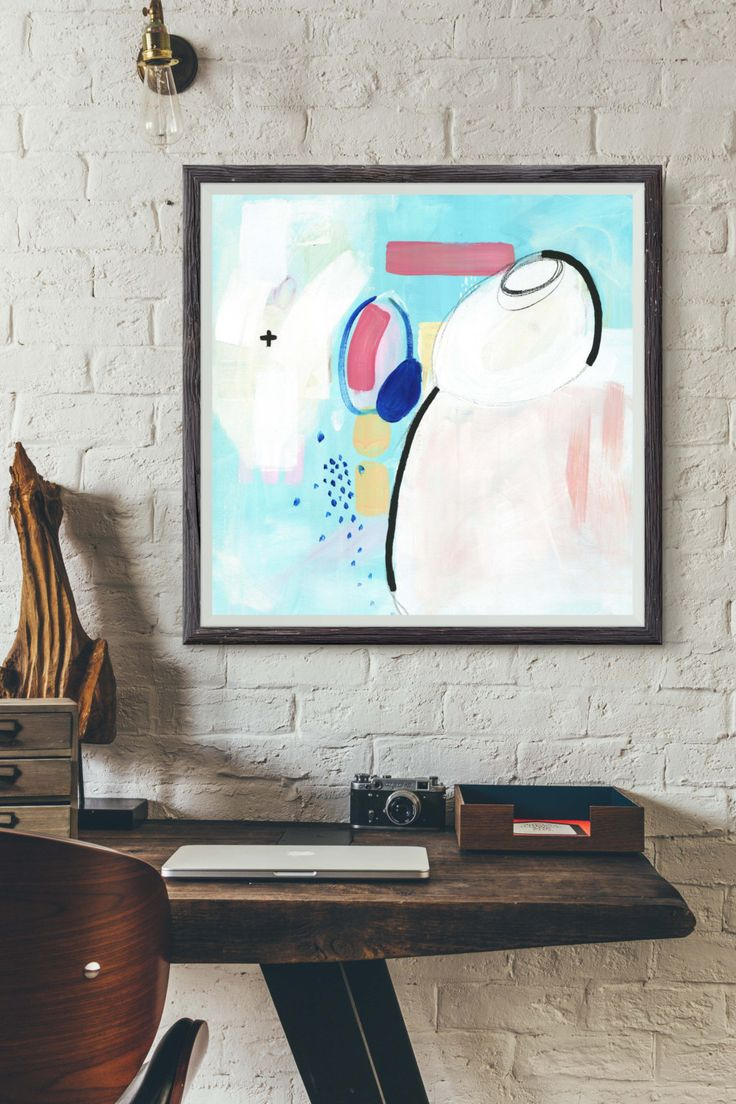 """Pastel Colors Painting, Abstract Giclée Print, Fine Art Print, Acrylic Painting, Painting with Pastel Blue and Pink, """"UNDERWATER IV"""" by HolaGabrielle on Etsy"""