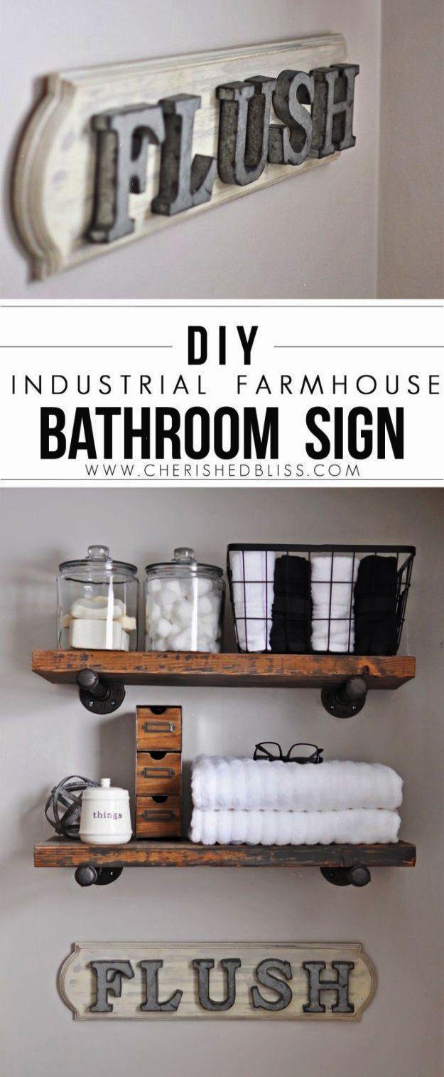 DIY Bathroom Decor Ideas - Industrial Farmhouse Bathroom Sign