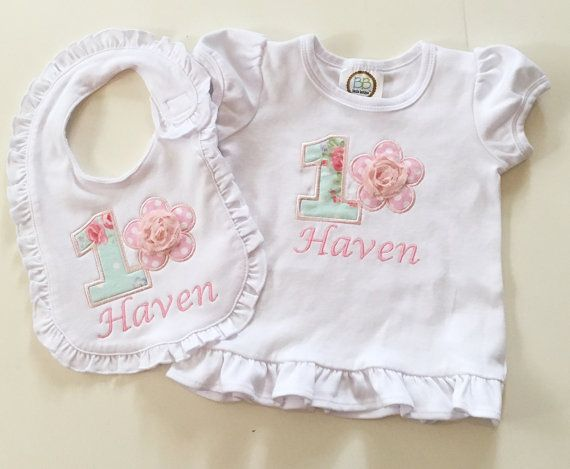 Shabby Chic 1st Birthday Bodysuit Shirt & Ruffle Bib 2 Piece