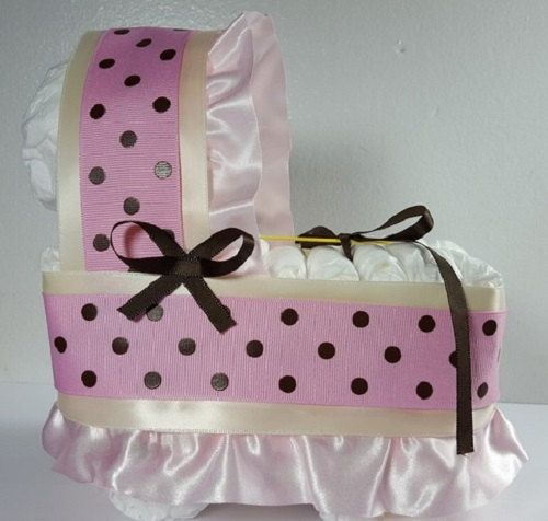 Cream with Pink/Brown Dots Diaper Bassinet Baby Shower Gift Table Decoration Centerpiece by LittleHomeMades on Etsy #4thOfJuly #FIREWORKS #July4th #American #Baby #BabyBump #CONGRATS
