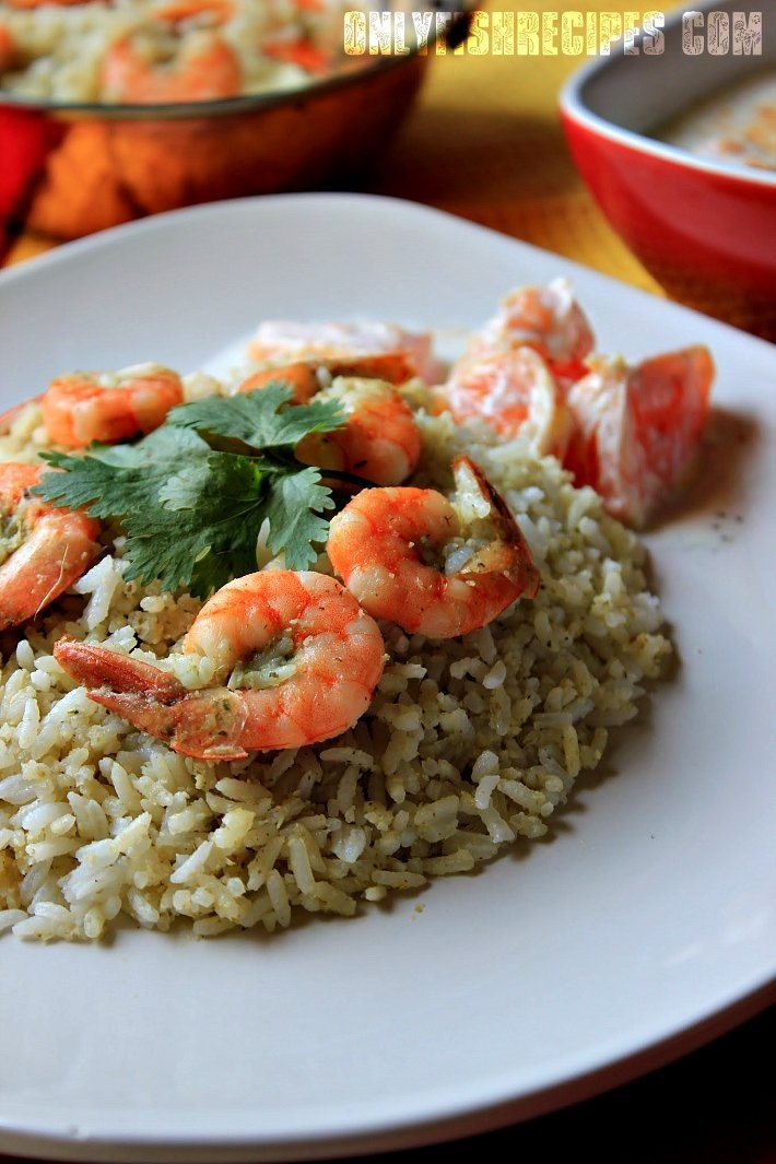 """""""Kolambi Bhaat""""/Prawns Rice is an authentic cuisine from Maharashtra. This delectable and savory dish of Prawns and Rice is extremely flavorful and rich with a variety of spices , herbs and grated fresh coconut."""