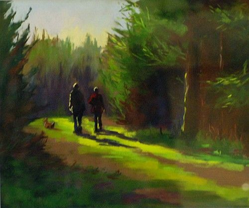 "#AfternoonStroll by #JaneMeyler Measurements: 30cm x 36cm (12"" x 14"") Medium: #Pastel-on-Paper, Framed #DukeStreetGallery"
