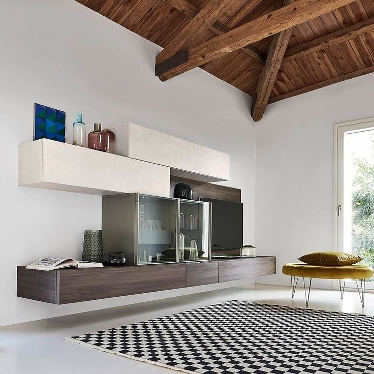 Lovely Ein eleganter Materialmix zeichnet diese Wohnwand C von Livitalia aus Die H ngeschr nke in dezenter Betonoptik