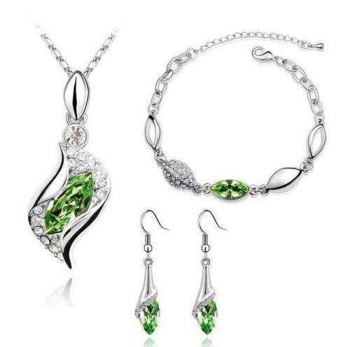 Women Fashion Bridal Prom Pageant Jewelry Crystal Necklace Earrings Bracelet Set | eBay