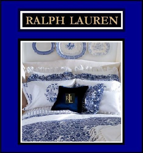 RALPH LAUREN BLUE PORCELAIN TAMARIND KING SIZE COMFORTER SET, SHAMS & BED-SKIRT