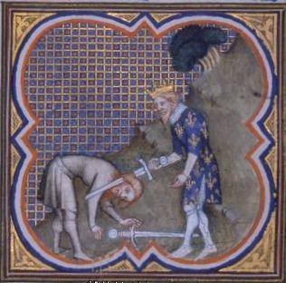 L'histoire du vase de Soissons.- CLOVIS 1° 3) BIOGRAPHIE. 3.3.3: LEGENDE DU VASE DE SOISSONS, 1: C'est après cette bataille qu'a lieu, selon Grégoire de Tours, l'épisode du vase de Soissons, où, contre la loi militaire du partage, le roi demande de soustraire du butin un vase liturgique précieux pour le rendre à l'église de Reims, à la demande de Rémi, évêque de cette dernière cité.