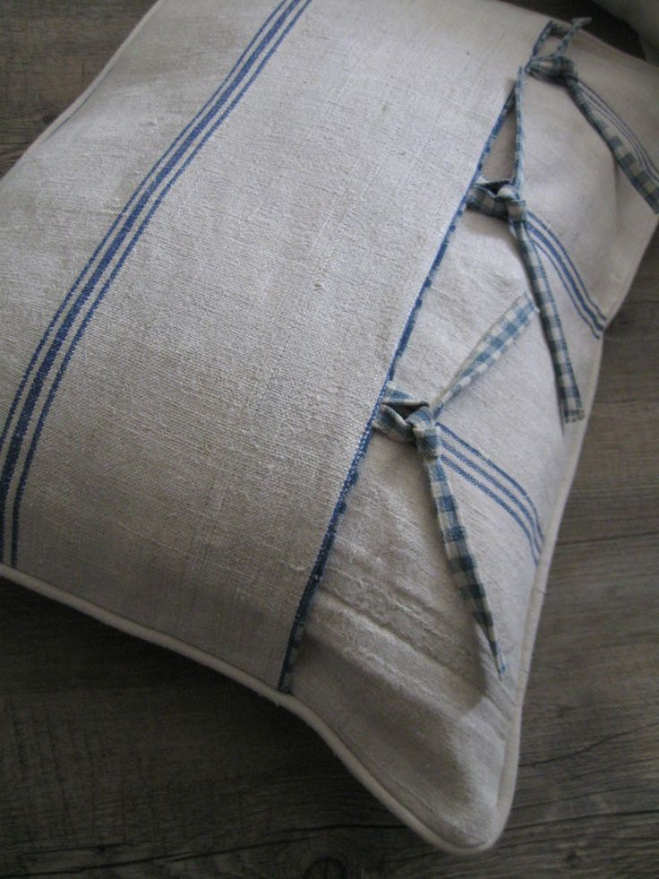 Flour sack pillow cover,  Interesting design.  Birch Creek Studio.