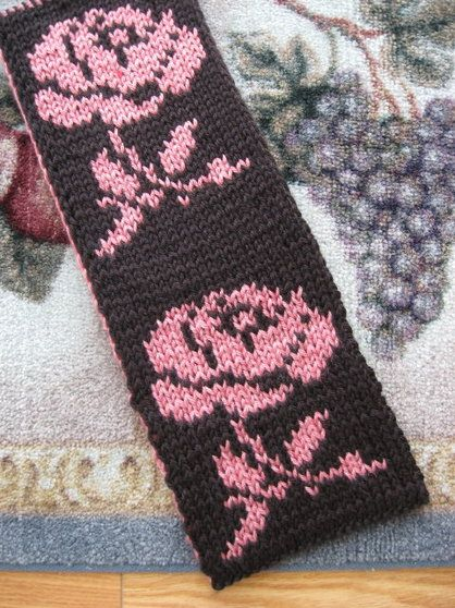 Reversible Double Knit Rose Scarf FREE PATTERN generously provided by Judy