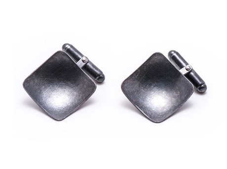 'Square cufflinks' by Katrina Weber  Oxidised sterling silver  Available in store and online  http://egetal.com.au/store/product/KWR350