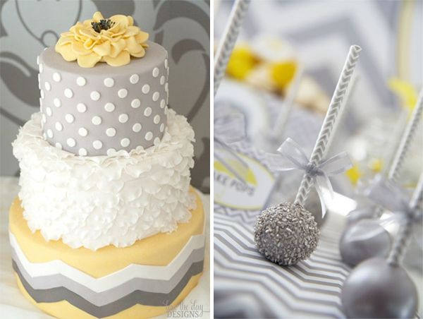 Darling yellow and gray baby shower cake using polka dots and chevron patterns. See the chevron paper straws that tie in the cake pops! Love the details!