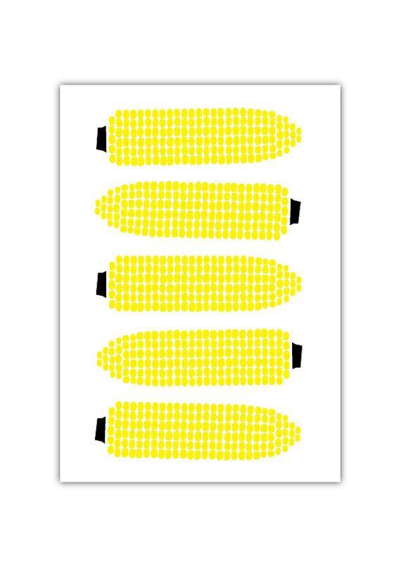 Corn Art print Pattern Harvest Geometry Vegetable by dekanimal