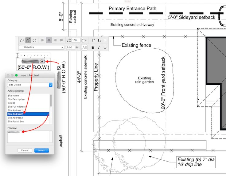 ARCHICAD Project Info on the site plan