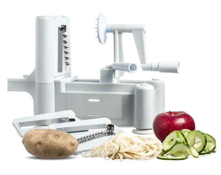 Chef's Star Tri-Blade Plastic Spiral Vegetable Slicer Cutter Peeler #ClearMax