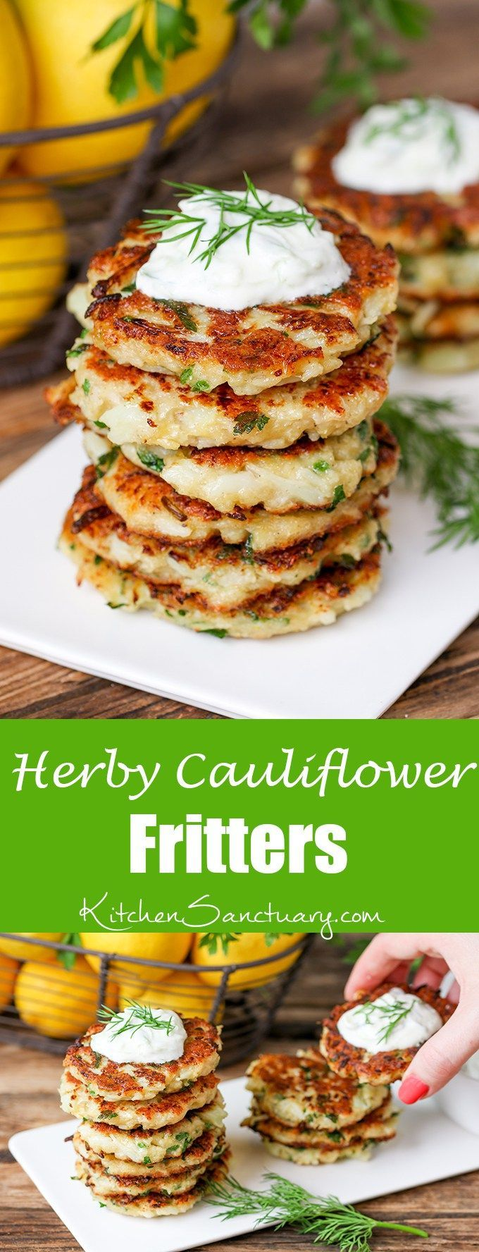 Cauliflower Fritters with Homemade Tzatziki - a lunch with a bit of a…