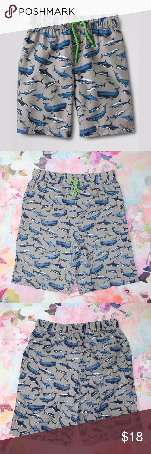 Lands' End Kid's Shark Whale Print Swim Trunks Lands' End Kids Novelty Print Aquatic Life Swim Trunks Excellent, gently loved condition. No holes, stains, or other flaws, although inside tag is marked with sharpie. Fun print has different types of sharks and whales accompanied by a quite nervous diver.... Size XL  My bundle discount is 15% off 2+!! Feel free to ask any questions, additional measurements or photos.  Please submit offers through the offer button Lands' End Swim Swim Trunks