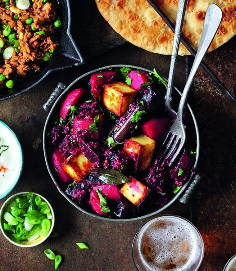 Beetroot and paneer with curry leaves