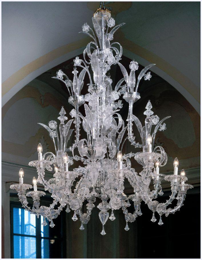 Murano Chandelier Large Ca Rezzonico L7061K12 Clear Glass