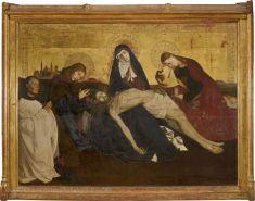 Pieta d'avignon, attribuée à Enguerrand Quarton (vers 1410-actif jusqu'en 1466), huile sur toile, 163 x 218;5 cm, Musée du louvre, Paris.