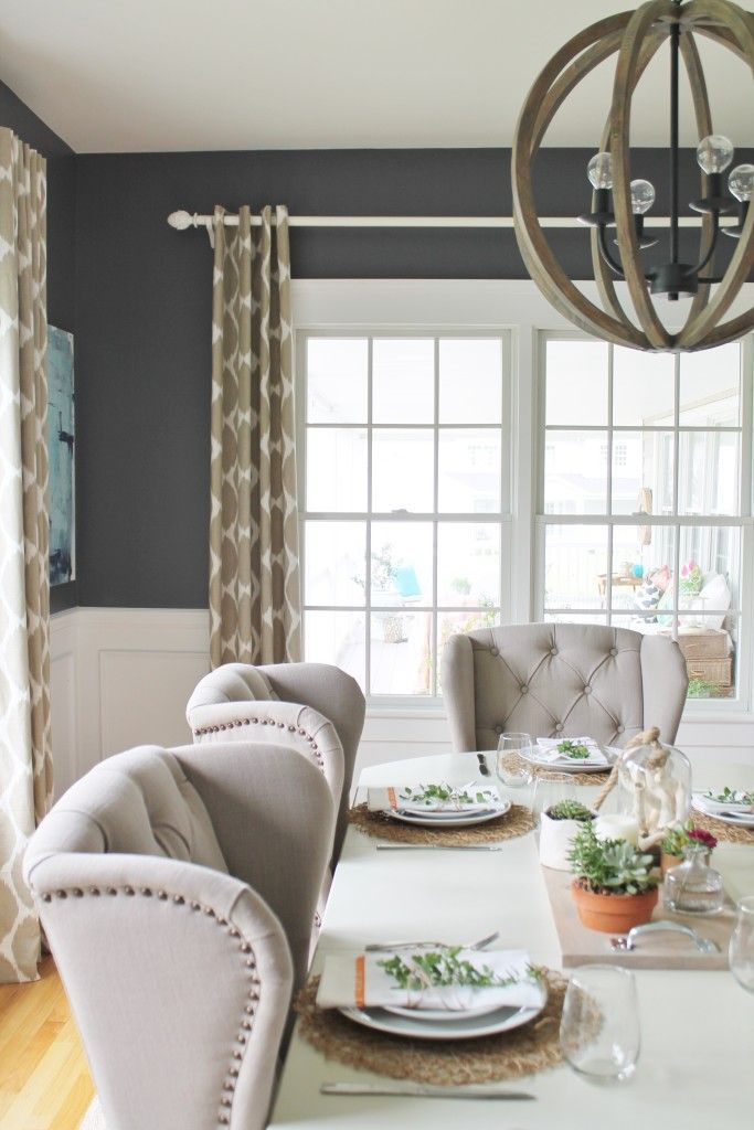 Summer Tour & Dining Room Reveal-Birch Lane Chandelier, Benjamin Moore Stormy Night, Arhaus Chairs and West Elm Ikat Drapes