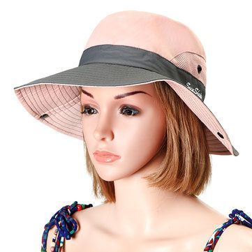 Women Summer Mesh Breathable Fisherman Hat Outdoor Travel Sunscreen Visor Bucket Hat at Banggood
