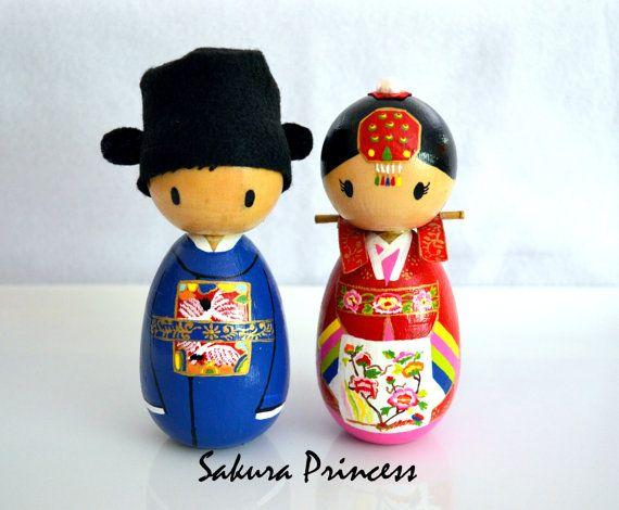 "4"" Custom Korean Bride and Groom Wedding Cake Toppers in Traditional Dress - keepsake - collectible"