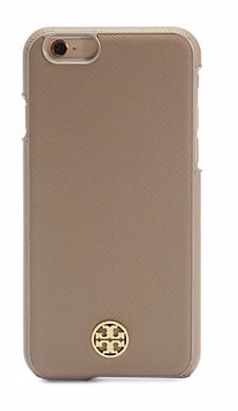 Tan leather Tory Burch iPhone case