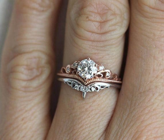 Beautiful vintage inspired round moissanite ring with diamonds with matching diamond band. Available in 14 and 18k gold, platinum. Please select engagement ring or WHOLE SET option from the drop down menu. Other stones are also available: morganite, opal, pearl, turquoise, diamond, rose cut