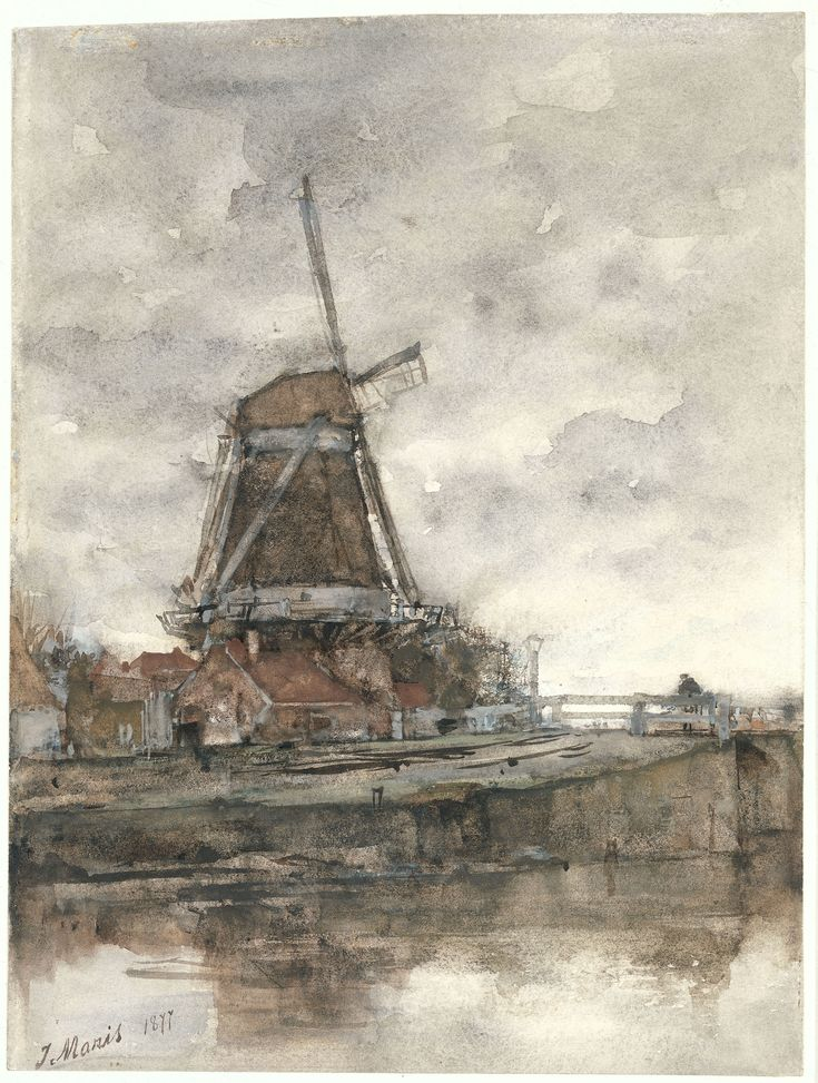 Jacob Maris, The Mill and Brug at the 'Noord-West-Buitensingel' Near Den Haag. 1877