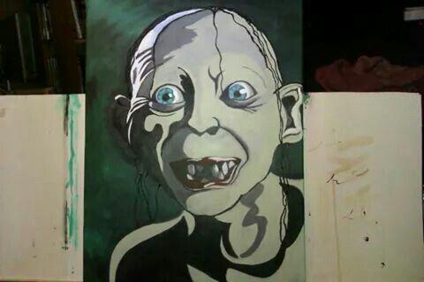 Gollum acrylic painting