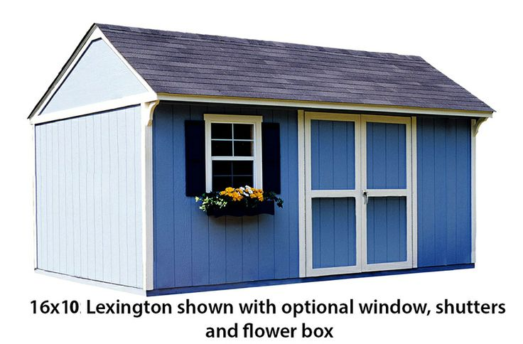 16x10 Shed Shown With Optional Window Shutters And Flower