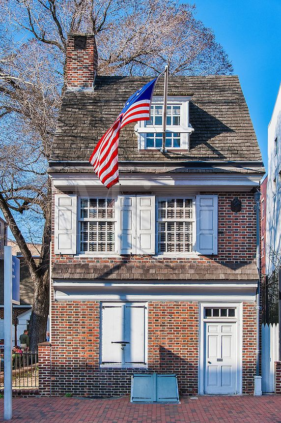 Betsy Ross house, Philadelphia, Pennsylvania, USA  (I visited her home and it is so tiny, a wonderful little courtyard that now people play the fife, are talking history and even women working a quilt..)