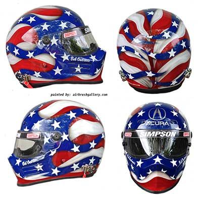 """Simpson race helmet I designed and painted for Bob Ondrovic who races a Acura. American flag design with Acura logo, bright colors, bold lines really make this helmet stand out. This helmet was featured the cover of NSX Driver magazine. """"Don Johnson is an incredible artist! Great client contact and working relationship taking"""