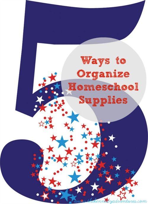 5 ways to organize homeschool supplies  #schoolrooms