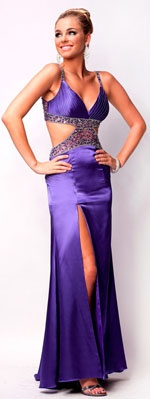 2012 Nina Canacci Prom Dresses! Purple Beaded Side Cut Out Charmeuse Gown - 0-14