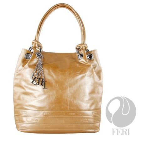 "Golden Glow. $1170. Golden Italian leather, coated with a special compound to protect from the elements. Very supple, its shape and storage space is FERI. It has a deep storage area, bottom studs to protect the bag. The bottom of the bag is embossed with the FERI text. It has five inside flat pocket, phone holder, beautiful FERI lining with matching leather trim inside, large zipper compartment on the back of bag. FERI charms accessory. Size: 14"" x 15"" x 5.5"" - Matching wallet also…"