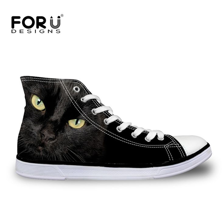 FORUDESIGNS Cool Animal Black Cat Printing Women's Casual Shoes Women Owl Dog High-top Vulcanized Shoes For Ladies Canvas Shoes