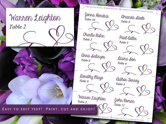 25 cute diy wedding place cards ideas on pinterest name for Make your own wedding place cards
