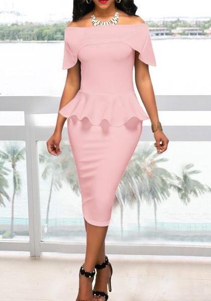 68fad16e7b Pink Pleated Off Shoulder Peplum Bodycon Elegant Church Banquet Party Midi  Dress